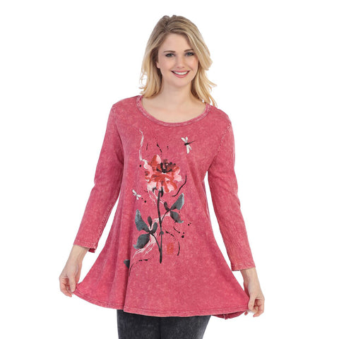 "Jess & Jane ""Fable Story"" Floral Print Mineral Washed Cotton Tunic - M38-1224 - Sizes L & XL Only"