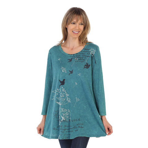"Jess & Jane ""Dandelion"" Mineral Washed Cotton Tunic in Teal - M38-1286 - Sizes S thru L"