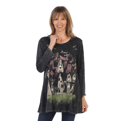 "Jess & Jane ""Happy Dog"" Mineral Washed Cotton Tunic  - M38-1292 - Sizes S, L & XL Only"