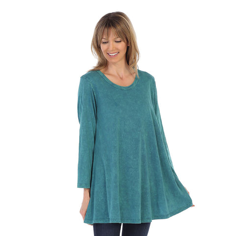 Jess & Jane Solid Mineral Washed Cotton Tunic in Cypress - M38-CYP
