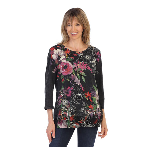 "Jess & Jane ""Evening Sonnet"" Mineral Washed Cotton Tunic Top in Black Multi - M48-1106"