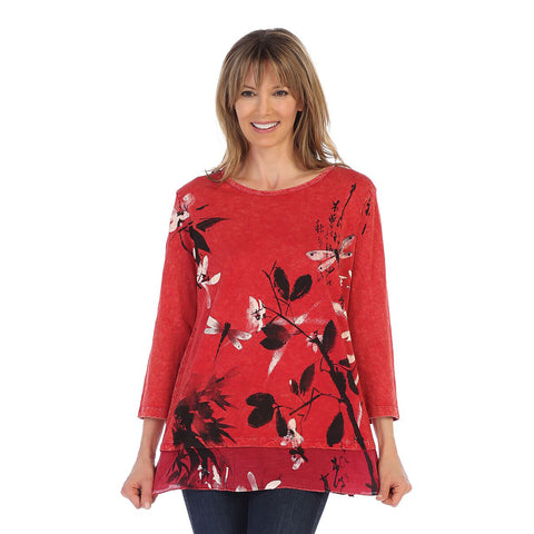 "Jess & Jane ""Playtime"" Mineral Washed Cotton Tunic Top in Scarlet - M48-1160"