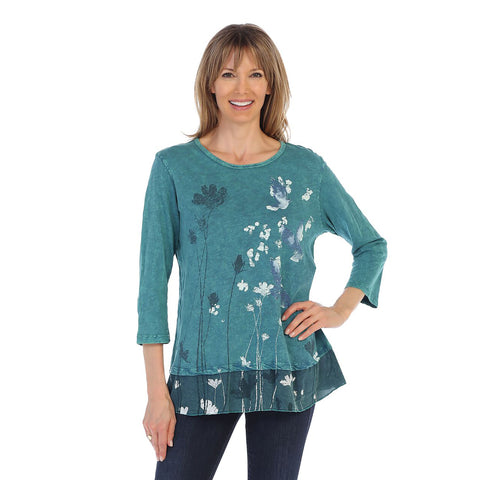 "Jess & Jane ""Free Fly"" Mineral Washed Cotton Tunic Top in Cypress - M48-1260"