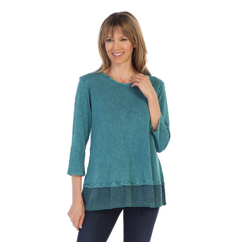 Jess & Jane Solid Mineral Washed Cotton Tunic Top in Cypress - M48-CYP