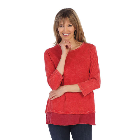 Jess & Jane Solid Mineral Washed Cotton Tunic Top in Scarlet - M48-SCLT