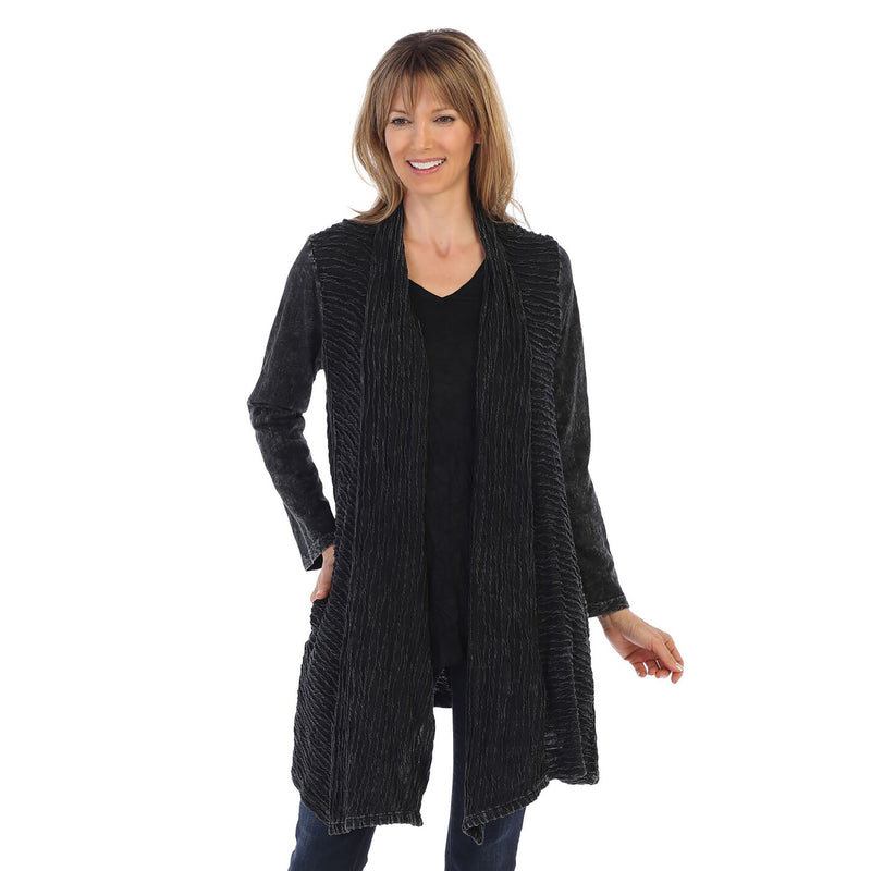 Jess & Jane Wave Contrast Open Front Cardigan in Black - M57-BLK
