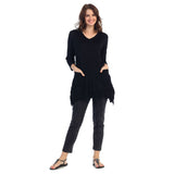 Crinkle Comfort by J&J Melange Crushed Tunic in Black - MC105-BK