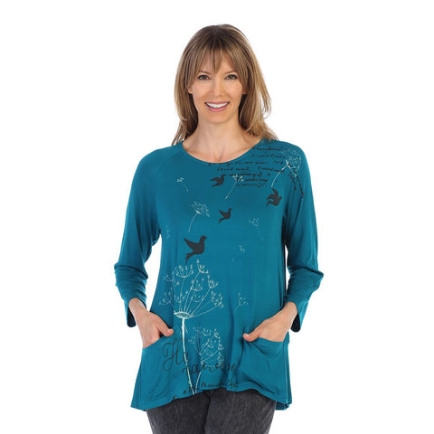 "Jess & Jane ""Dandelion"" Soft Modal Tunic Top in Teal - MD1-1286"