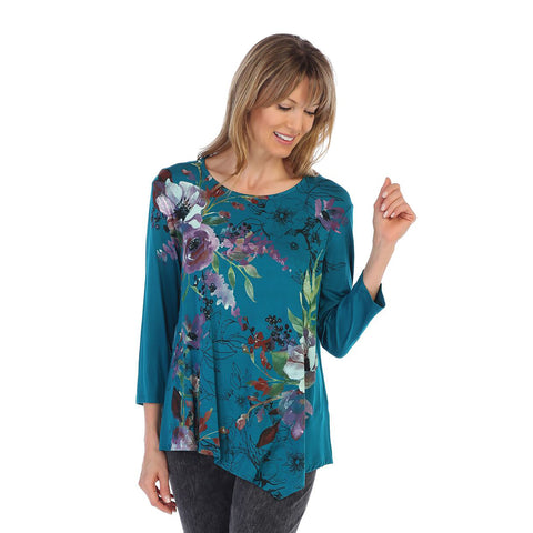 "Jess & Jane ""Evening Sonnet"" Floral Print Asymmetric Tunic in Teal Multi - MD3-1106"