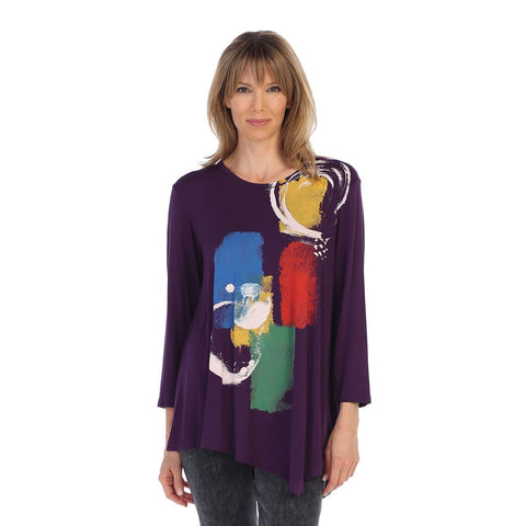 "Jess & Jane ""Tranquility""Abstract Print Asymmetric Tunic in Grape Multi  - MD3-1250"