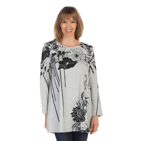 "Jess & Jane ""Canon Flower"" Sweater Knit Tunic in Grey/Black- MH1-1288 - Sizes 1X & 2X Only"