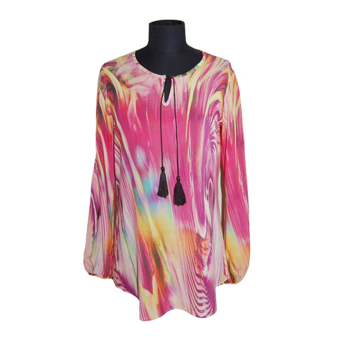 Mesmerize Long Sleeve Abstract Print Peasant Blouse in Pink/Multi - Mollie