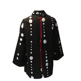 Moonlight Polka Dot Button Front Jacket -  2342-B/W - Sizes XL & XXL Only