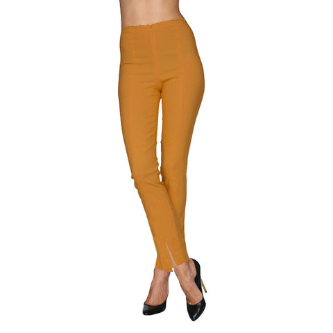 Mesmerize Pants with Front Ankle Slits and Front Zipper in Mustard - MA21-MUS