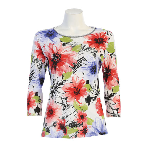 "Jess & Jane ""Sharon"" Floral Print Cotton Top in Multi - 14-1367-WT - Sizes XL, 1X & 3X Only"