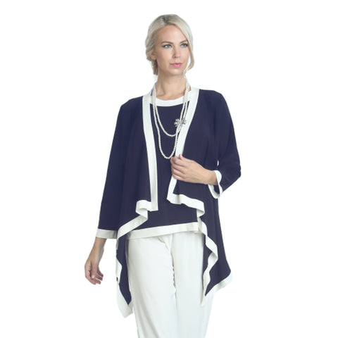 IC Collection Cardigan Twin Set in Navy & White - 5283JT-NVY