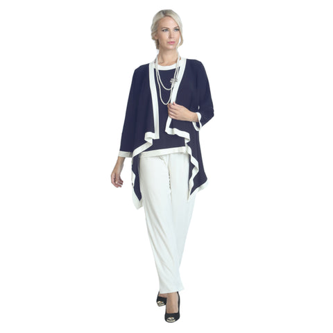 IC Collection Cardigan Twin Set in Navy & White - 5283JT-NVY ...