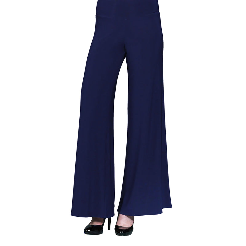 Clara Sunwoo Soft Stretch Knit Palazzo Pant in Navy - LPT-NVY