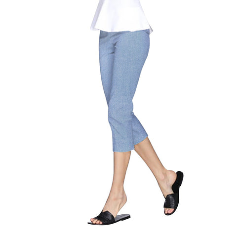 "Just In! ""Nova"" Zip Front Capri's in Light Blue Denim - NOVA-LBDN"