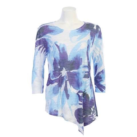 "Jess & Jane ""Tahoe"" Watercolor Floral Burnout Tunic in Blue/White - 42-1331"