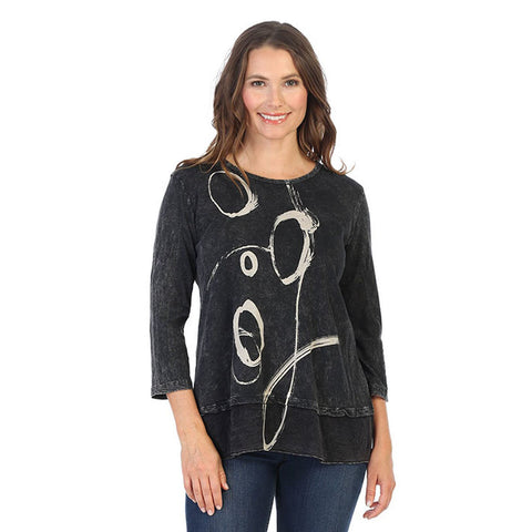 "Jess & Jane ""Olivia"" Printed Mineral Washed Tunic Top - M48-1421"