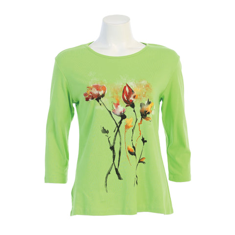 "Jess & Jane ""Country Posy"" Floral Print Top in Lime - 14-1380LM - Size S Only"