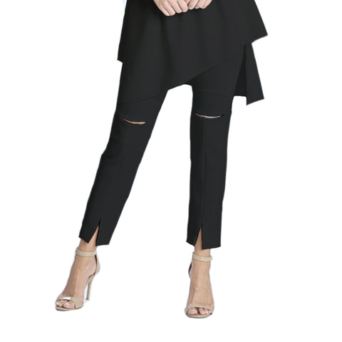 IC Collection Slit Front Ankle Pant in Black - 1346P-BK