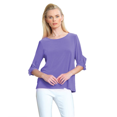 Clara Sunwoo Solid Ruffle Cuff Top in Periwinkle - T213-PER - Sizes XS & M Only