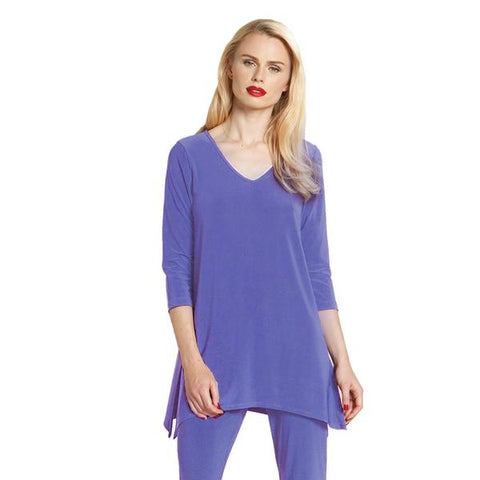 Clara Sunwoo V-Neck Side Vent Tunic in Periwinkle - T103-PERI - Sizes S & XL Only