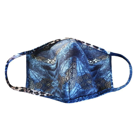 Valentina Signa Designer Mask - Denim & Cheetah