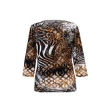 "Valentina ""Adventure"" Animal Print Top in Multi - 17322-1"