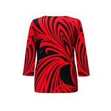 "Valentina Signa ""Red Whirl"" V-Neck Top in Red/Black - 19292-1"