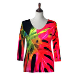 "Valentina Signa ""Hot Tropics"" V-Neck Top in Red/Multi - 19301-2"