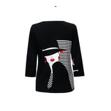 "Valentina ""Sophie"" V-Neck Print Top in Black/White/Red - 19684-1"