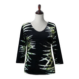 "Valentina ""Bamboo"" V-Neck Print Top in Multi/Black - 19795-1 - Size L Only"