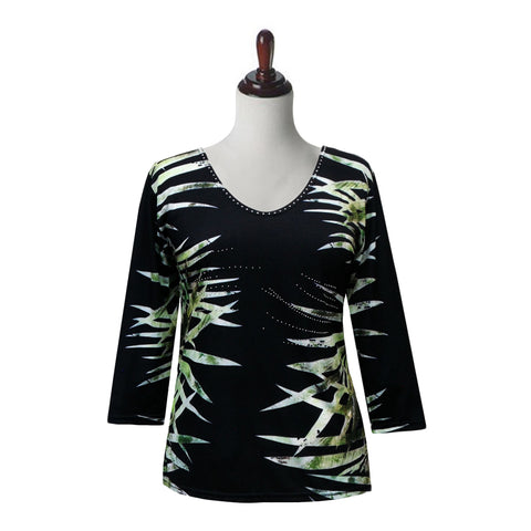 "Valentina ""Bamboo"" V-Neck Print Top in Multi/Black - 19795-1"