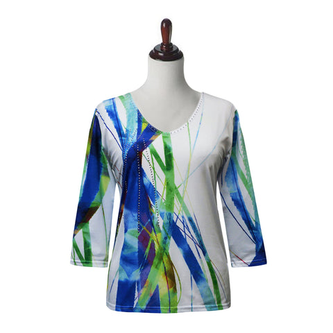 "Valentina ""Wind Song"" V-Neck Print Top in White/Blue - 19796-7"