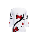 "Valentina ""Butterflies"" V-Neck Print Top in Red/Black/White - 19798"