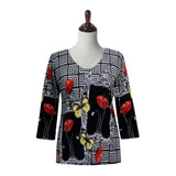 "Valentina ""Patchwork"" Blooms & Butterflies V-Neck Top in Multi/Black - 19802"