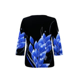 "Valentina ""Bluesy"" Print V-Neck Top in Black/Blue - 19832-2"