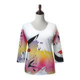 "Valentina ""Mystique"" V-Neck Print Top in Multi - 19900"