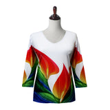 "Valentina ""Maybe"" Print V-Neck Top in Multi/White - 19939-WT"
