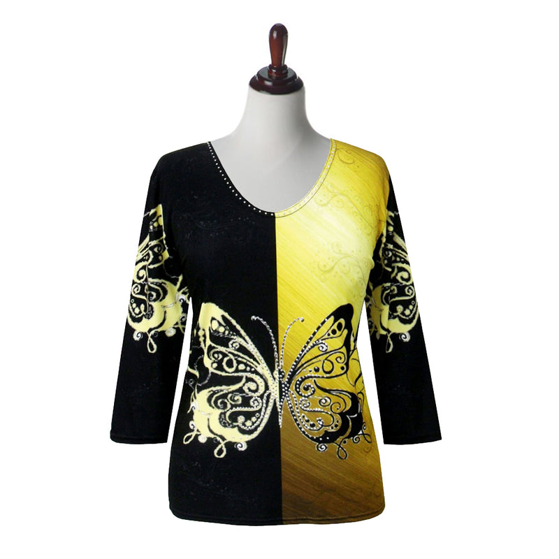 "Valentina ""Butterflies"" V-Neck Print Top in Black/Yellow - 19965"