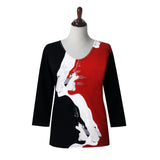 "Valentina ""Panthera"" V-Neck Print Top in Black/Red/White - 20221"