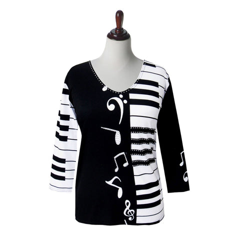 "Valentina ""Notes & Keys"" V-Neck Print Top in Black/White - 21438"