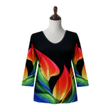 "Valentina ""Maybe"" Print V-Neck Top in Multi/Black - 19939-BLK"