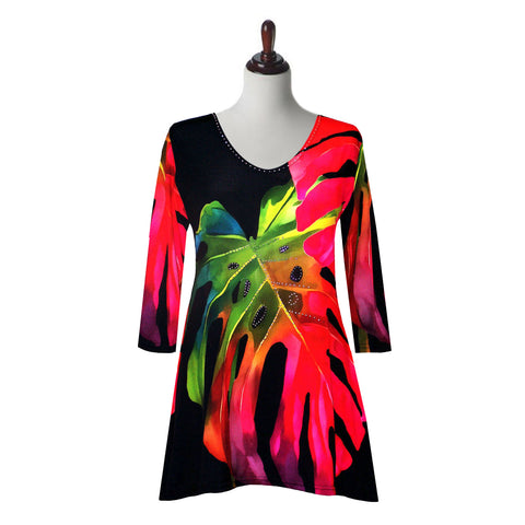 "Valentina Signa ""Tropics"" Print Tunic in Red Multi -19301-2"