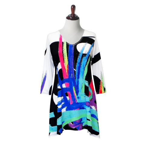 "Valentina Signa ""Abstract Art"" Print Tunic in Blue/Multi - 19613-1-TU"