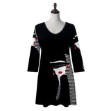 "Valentina Signa ""Sophie"" Print V-Neck Tunic  in Black/White/Red - 19684-1"