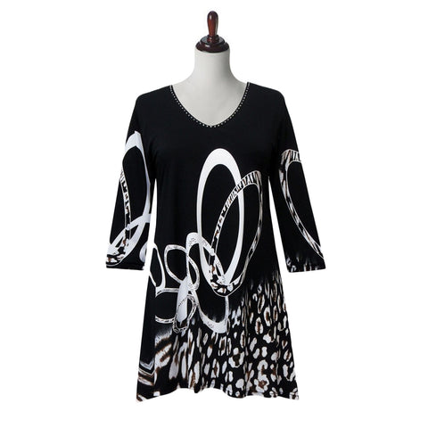 "Valentina Signa ""Circles"" Print V-Neck Tunic in Black  - 19740"